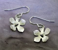 Silver Flower Earrings   by Kathryn Riechert by KathrynRiechert, $30.00