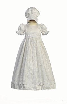 f23068ce5ea4 White Silk and Embroidered Tulle Christening Baptism Gown - M (6-12 Month)  · Baby Girl Christening OutfitChristening Gowns ...