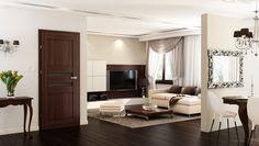 DVEŘE: Interiérové foliované dveře ACCRA, imitace dřeva | SIKO Accra, Oversized Mirror, Flat Screen, Divider, Curtains, Living Room, Interior Design, Furniture, Home Decor