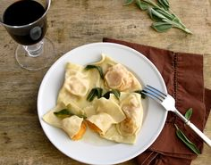 Butternut Squash Ravioli with Sage Browned Butter Sauce by jennysteffens: Easy especially with leftover butternut squash! #Butternut_Squash_Ravioli