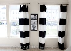 The Creative Imperative: Black and White Horizontal Striped Curtains {made from Walmart tablecloths} Walmart Tablecloths, Black White Curtains, Horizontal Striped Curtains, White Valance, Diy Interior, Interior Designing, Window Frames, Drapes Curtains, Blackout Curtains