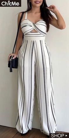 This striped jumpsuit features v neck and bare back, and this high waist jumosuit is for the casual life, date and other occasions. Maxi Shirt Dress, Jumpsuit Dress, Striped Jumpsuit, African Print Fashion, Jumpsuits For Women, Casual Dresses For Women, Fashion Dresses, Cute Outfits, Shorts