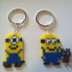 Stuart and Bob - Minion keychains hama mini beads by sheenamus20