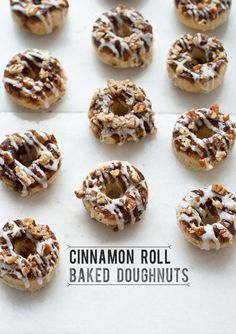 cinnamon roll baked doughnuts • top with cinnamon