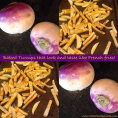 Take 4 turnips, peel and slice into French fry size strips. Toss with 2 tsp. olive oil and add seasonings you like (I use sea salt, garlic powder, and Mrs. Dash extra spicy). Lay out on a baking sheet and bake at 400 until lightly browned. They will not become crispy as they dehydrate, but they will have a consistency like McDonald's fries. :) Enjoy!