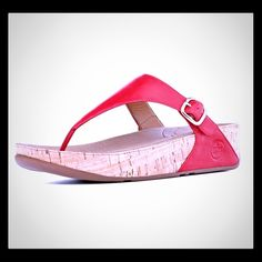 FitFlop The Skinny Leather Flip Flops FitFlops are the most comfortable flip flop on the market with excellent arch support! The Skinny has a synthetic cork surround. The buckle is adjustable for a great fit!  These have only been worn a few times. FitFlop Shoes Sandals