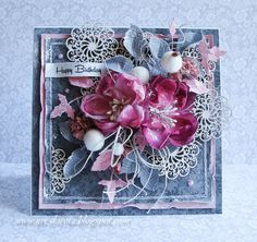 Dorota_mk, Card with flowers Mixed Media Cards, Shabby Chic Cards, Card Making Inspiration, Pretty Cards, Card Tags, Paper Cards, Flower Cards, Creative Cards, Hobbies And Crafts