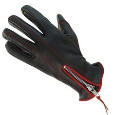Xelement UK8261.01 Classic Zippered Womens Black/Red Leather Motorcycle Gloves