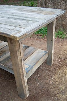 $2 Farmhouse Table | Do It Yourself Home Projects... I need to make sure the next time my neighbor has pallets he doesn't want we try this instead of roasting s'mores!