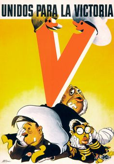 United for Victory. WWII propaganda poster for unity between Mexico and the U.S., c 1942.