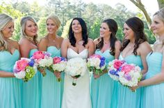 Donna Morgan Spearmint bridesmaid dresses // Bright and colorful wedding with pink and white wedding flowers // Summer wedding ideas