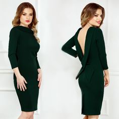 Emerald backless dress, perfect for a cocktail attire.