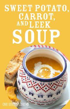 SWEET POTATO, CARROT, & LEEK SOUP; Dairy Free and Vegan Recipe.