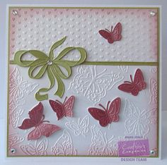 Crafter's Companion - Embossalicious Sugar and Spice Butterfly Love 6x6 folder - Centura Pearl Snow White Hint of Gold - Pink & Green card - Victorian Velvet Distress ink - Collall 3D glue - Gems - #crafterscompanion