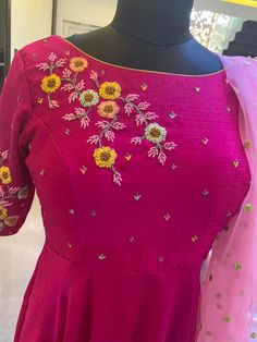 Stunning pink color designer floor length dress with blush pink color net dupatta. Floor length dress with floret lata design hand embroidery work on yoke and sleeves.To order whatsapp 25 February 2019 Embroidery On Kurtis, Hand Embroidery Dress, Kurti Embroidery Design, Embroidery Fashion, Beaded Embroidery, Embroidery Stitches, Kurta Neck Design, Saree Blouse Neck Designs, Blouse Designs