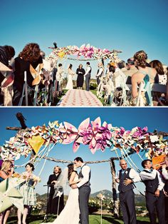 Stunning wedding arch made from pinwheels and paper flowers!