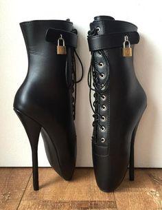 Fetish Lockable Ballet Boots Mini Padlock Matte Black Restrain Slave Roleplay Source by csarger Hot Heels, Sexy Heels, Platform High Heels, High Heel Boots, Heeled Boots, Ballet Boots, Ballet Heels, Sexy Stiefel, Talons Sexy