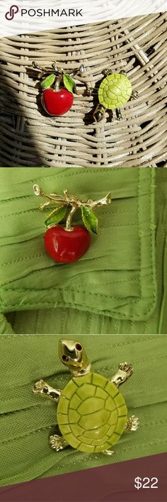 Vintage Gerry's Jewelry Apple & Turtle pins lot/2 1960's-1970's enamel and goldtoned pins from Gerry's Creations Inc., which was in business from the 1950's to 1996. The apple is stamped on the back, and does show some wear on the enamel. There's also a bubble-spot on a leaf - see photos. A great teacher's gift for someone who appreciates vintage! The turtle is in great condition and has red rhinestone eyes. vintage Jewelry Brooches