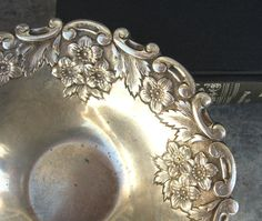 Rustic Silver Candy Dish Very Ornate Floral by SilverAndBone