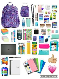 School almost over but why not...  Pintrest: Isabelle 🌅 Middle School Supplies, Middle School Hacks, School Supplies Highschool, High School Hacks, High School Essentials, College Backpack Essentials, Back To School Highschool, College School Supplies, Gym Bag Essentials