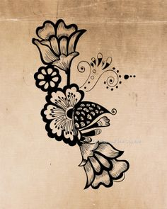 Vintage Flower / flourish. This is a digital download image used for transferring to fabrics and paper etc.