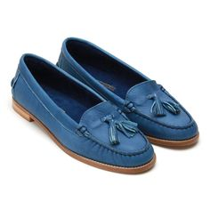 love the colour of these very preppy girly loafers from le mont st michel