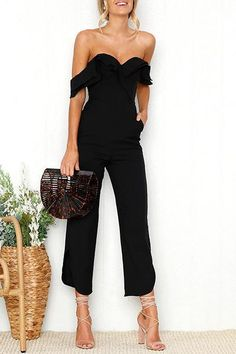 Cheap jumpsuit romper, Buy Quality overall romper directly from China overall jumpsuit Suppliers: BerryGo Sexy backless off shoulder black jumpsuit women Tiered ruffle high waist jumpsuit romper Split casual overall femme Ruffle Jumpsuit, Backless Jumpsuit, White Jumpsuit, Denim Jumpsuit, Formal Jumpsuit, Jumpsuit Style, Pants Style, Black Jumpsuit Outfit Night, Cream Jumpsuit