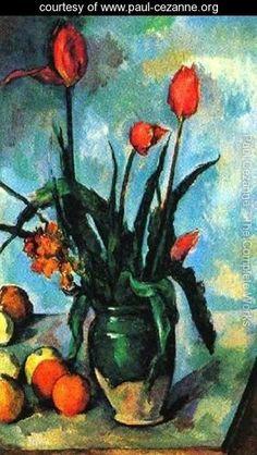 Tulips In A Vase - Paul Cezanne - www.paul-cezanne.org