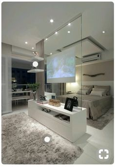 Modern contemporary luxury white master bedroom with TV inside a glass panel ! Sexy, cool and wonderful! Double bedroom dream house luxury home house rooms bedroom furniture home bathroom home modern homes interior penthouse Dream Home Design, Home Interior Design, House Design, Luxury Interior, Interior Ideas, Home Inside Design, Luxury Decor, Interior Modern, Scandinavian Interior