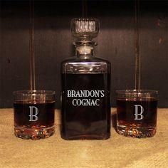 Personalized Old Fashioned Liquor Decanter & Lowball Glasses Set  #Groomsmen #Wedding #Barware