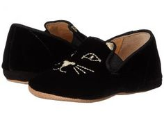 Charlotte Olympia Kitten (Toddler) (Black Velvet/Suede) Women's Flat Shoes