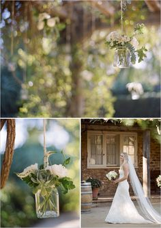 succulents hanging in mason jars. love it! Also this bride collected all her own glass containers. good way to save.