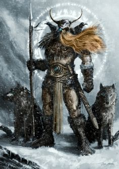 zitterberg:    tatteredbanners:    Odin Allfather/Óðinn  I've posted this at least a billion times before, but there you go. Here it is yet again.    Wotan is such a bad ass.