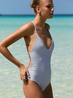 Free People x Beach Riot Farrah One Piece Striped Swimsuit at Free People Clothing Boutique #beautiful#swimwear#woman#beauty