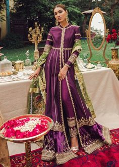 Love Pakistani Gharara And Anarkalis? Here's What They Cost Gorgeous eggplant purple gold Pakistani Pakistani Fashion Party Wear, Pakistani Wedding Outfits, Pakistani Dresses Casual, Indian Fashion Dresses, Pakistani Dress Design, Indian Designer Outfits, Indian Outfits, Pakistani Gharara, Pakistani Mehndi Dress