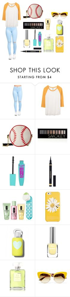 """""""Yellow baseball game"""" by kawaiistrawberri ❤ liked on Polyvore featuring Betsey Johnson, Forever 21, Yves Saint Laurent, Clinique, Kate Spade, bkr, Chanel and Dolce&Gabbana"""