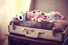 newborn portraits - owl hat - suitcase - dorean pope photography