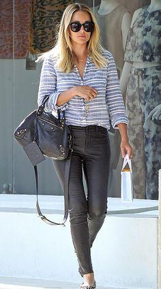 Lauren Conrad in J BRAND's L8001 Leather Super Skinny Legging in Noir .