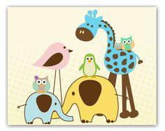 Baby Nursery wall art Big Happy Family Art Decor by ElaBleu, $18.00