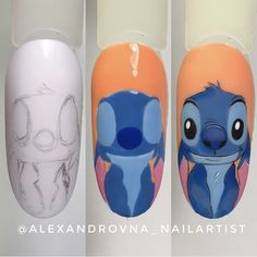 Ideas disney nails acrylic stitch for 2020 Funky Nail Art, Funky Nails, Cute Nail Art, Cute Nails, Nail Art Disney, Disney Acrylic Nails, Best Acrylic Nails, Diy Nails, Swag Nails