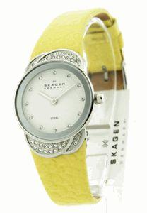 Skagen 818SSLY Yellow Flower Glitz Womens Leather Steel Case Quartz Watch