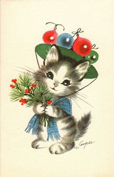 I love this Vintage Christmas Cat