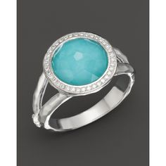 Ippolita Sterling Silver Stella Mini Lollipop Ring In Turquoise Doublet With Diamonds ($650) found on Polyvore