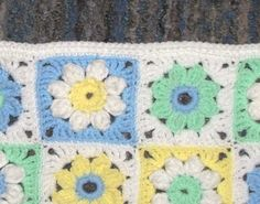 Spring Daisies Afghan- Crocheted Granny Squares