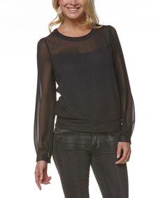 Love this Black Sheer-Yoke Long-Sleeve Top on #zulily! #zulilyfinds