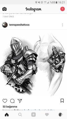 Warrior Tattoos, Viking Tattoos, Forarm Tattoos, Body Art Tattoos, Card Tattoo Designs, Medieval Tattoo, Knight Tattoo, Crusader Knight, Graffiti Tattoo