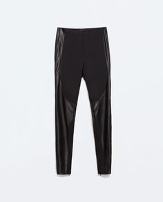ZARA - WOMAN - TROUSERS WITH FAUX LEATHER PATCHES