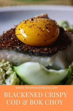 Perfectly cooked piece of crispy cod on a bed of Asian greens topped with an egg yolk💯 Green Tops, Cod, Seafood, Eggs, Lovers, Asian, Breakfast, Sea Food, Morning Coffee