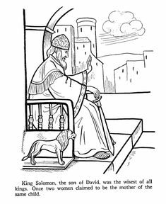 Bible Printables - Old Testament Bible Coloring Pages - King Solomon 1 Bible Coloring Pages, Coloring Pages For Boys, Coloring Sheets, Coloring Books, Solomon Bible, King Solomon, Old Testament Bible, Sunday School Coloring Pages, Book Clip Art