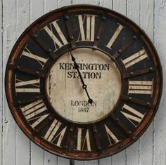 Timeless beauty inspired by the original Kensington Station clock. Kensington Station was one of the major railroad stations in Europe. For more oversized clocks visit Antique Farmhouse. Farmhouse Clocks, Antique Farmhouse, Industrial Farmhouse, Farmhouse Decor, Industrial Living, Industrial Décor, Farmhouse Style, Clock Decor, Wall Clocks